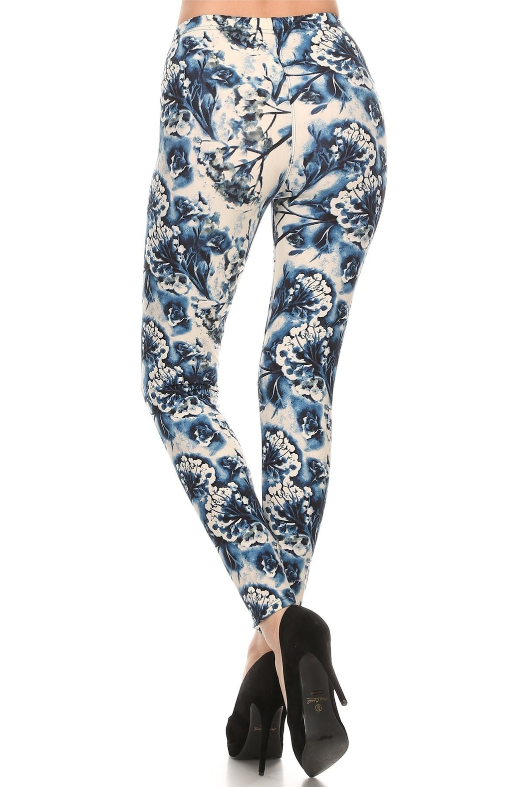 Leg Avenue Blue Floral Leggings - Front Full Image