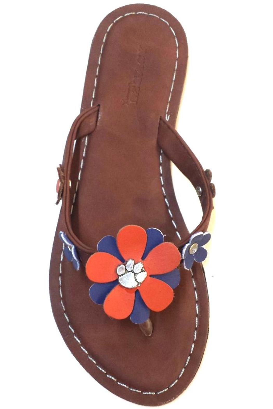 Legacy Athletic Clemson Tiger-Leather Sandals - Front Full Image