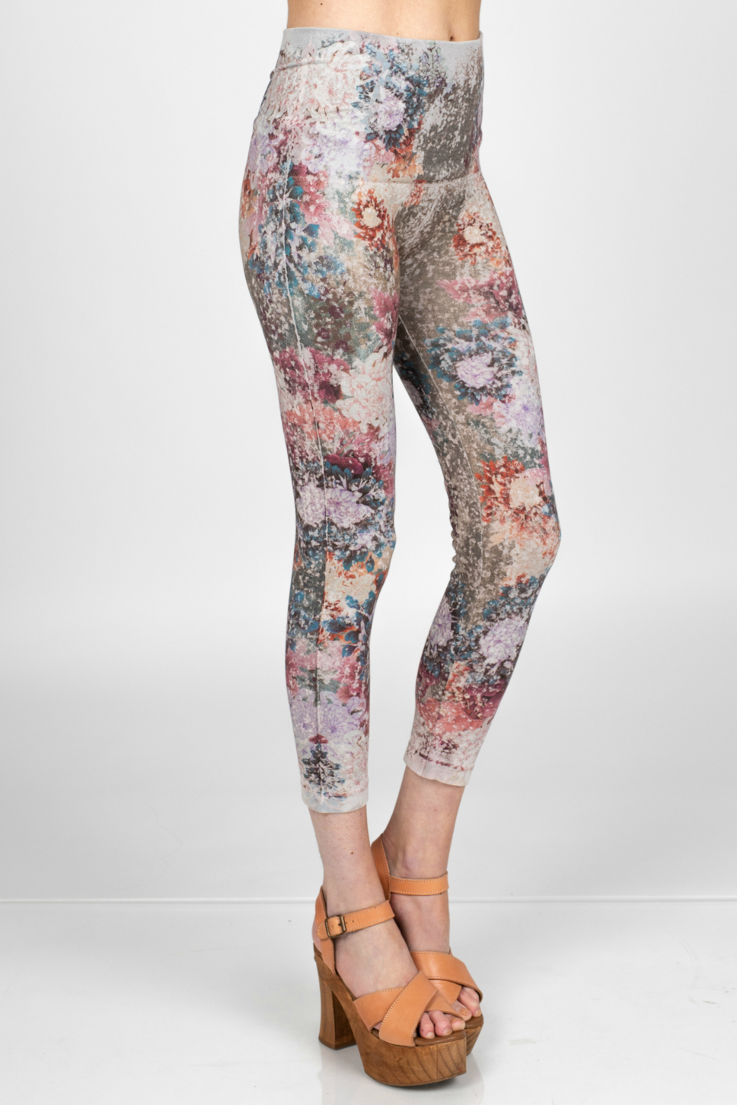 M. Rena Leggings with dancing peonies sublimation print - Front Full Image