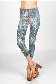 M-Rena  Leggings with tropical leave sublimation print - Product Mini Image