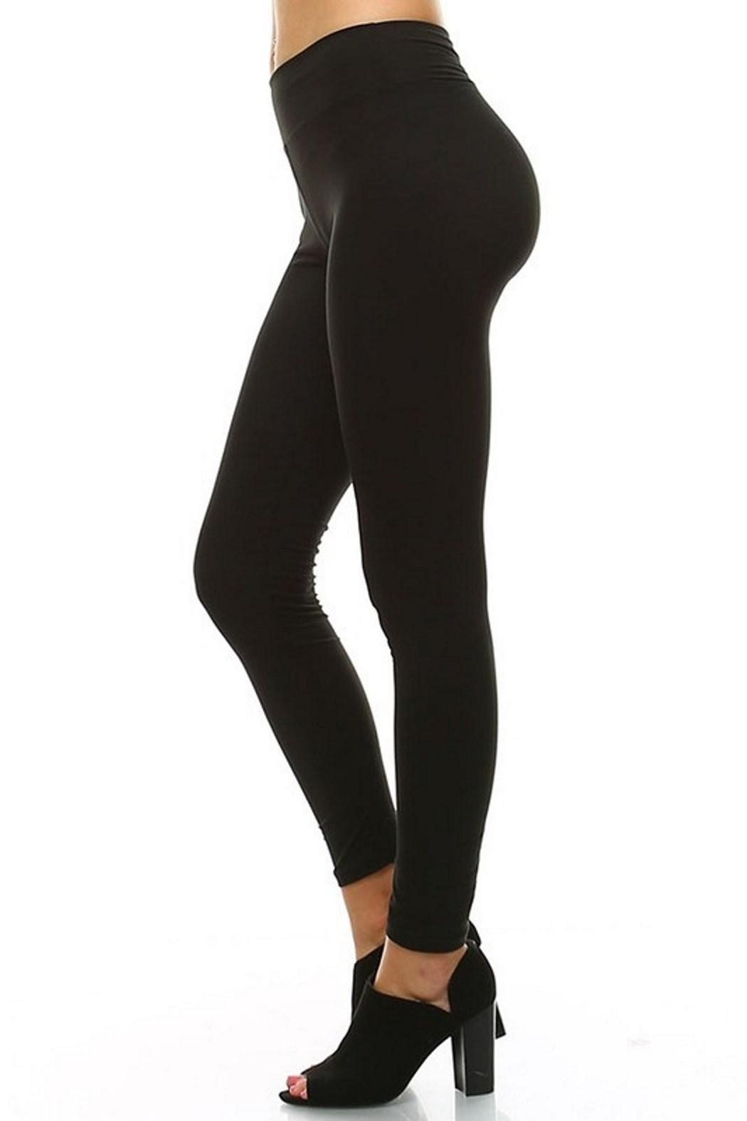 LEGGINGS MANIA Soft Leggings With Wide Band - Front Full Image