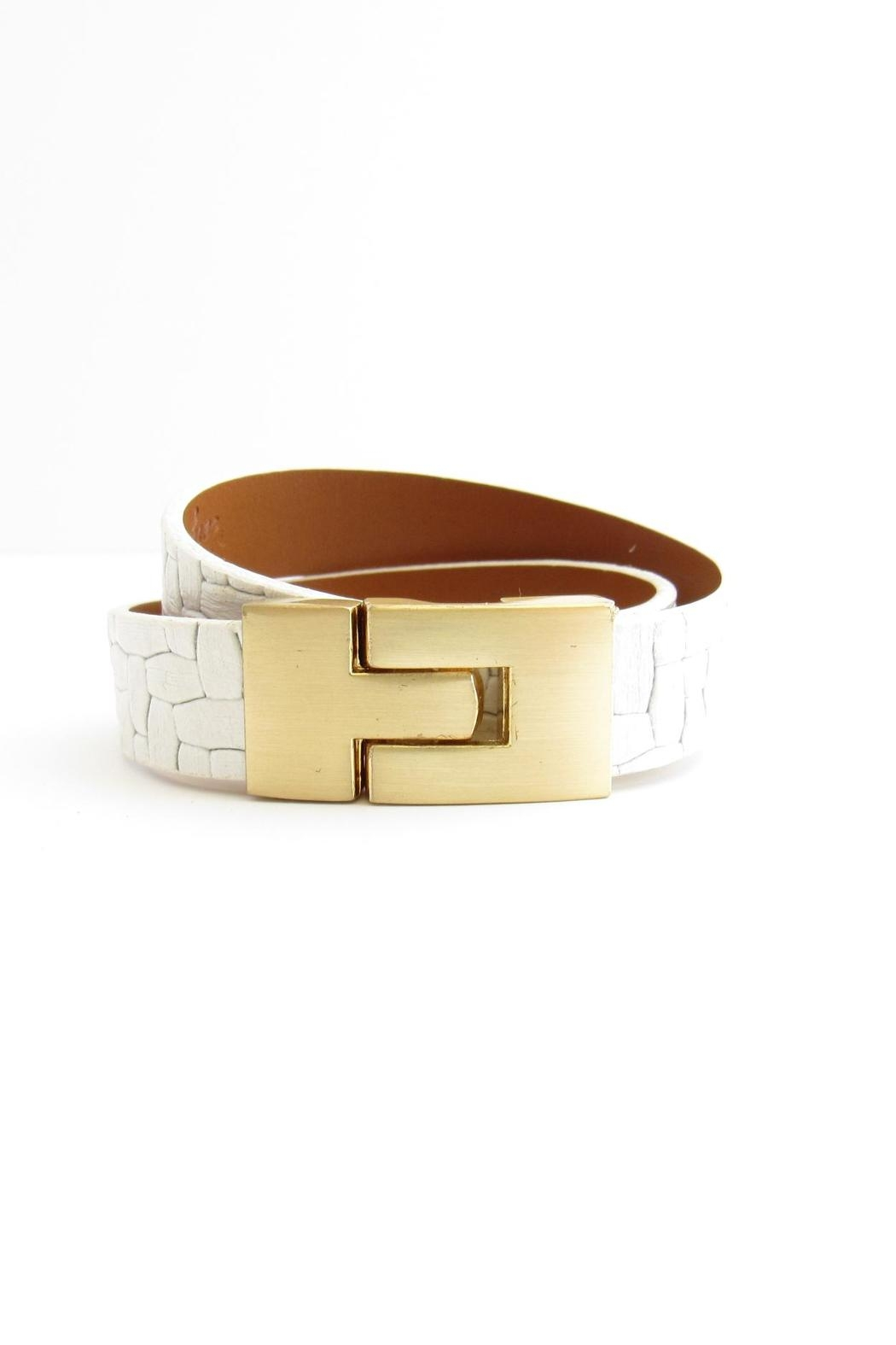 Leighelena White Leather Bracelet - Main Image