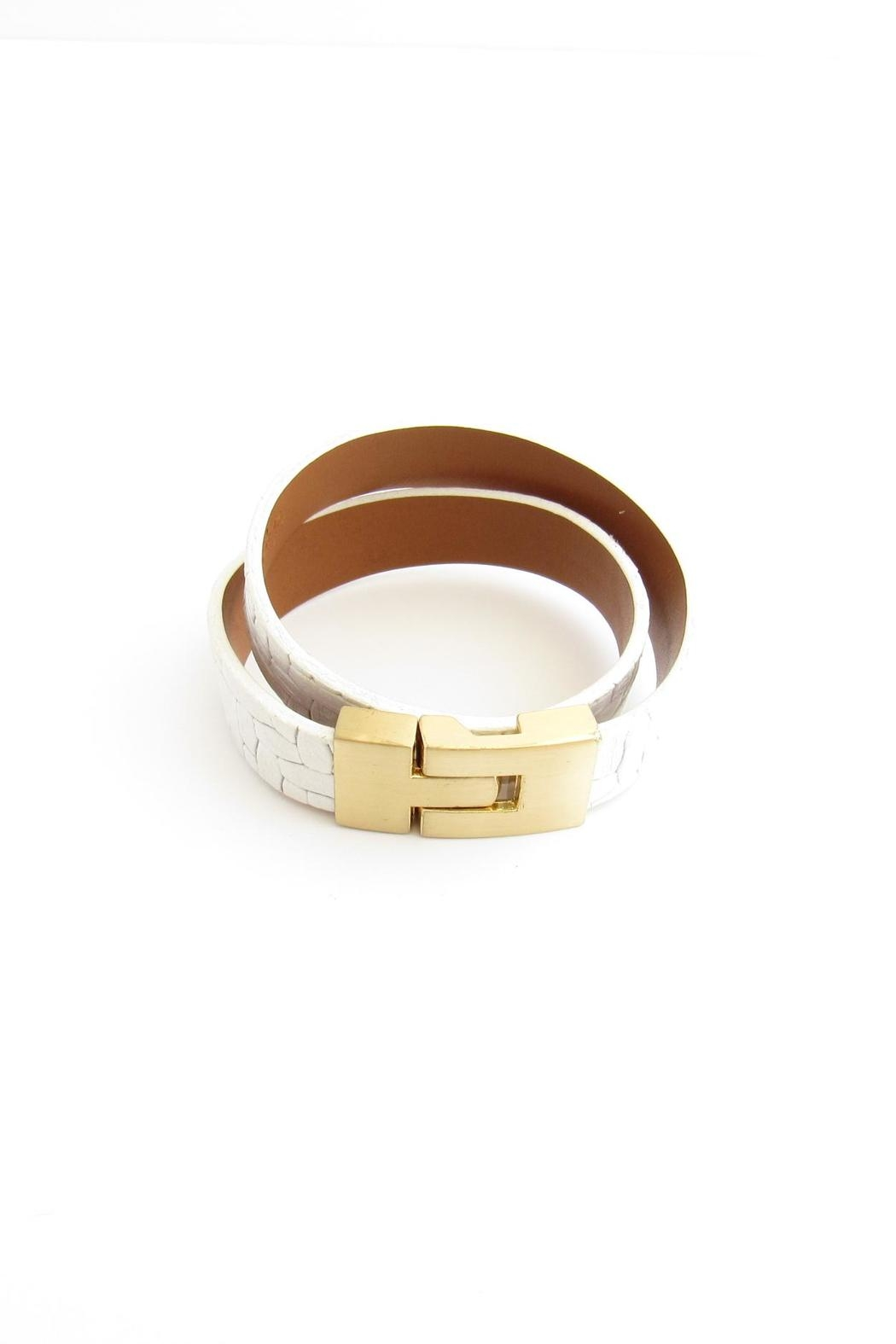 Leighelena White Leather Bracelet - Side Cropped Image