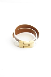 Leighelena White Leather Bracelet - Side cropped