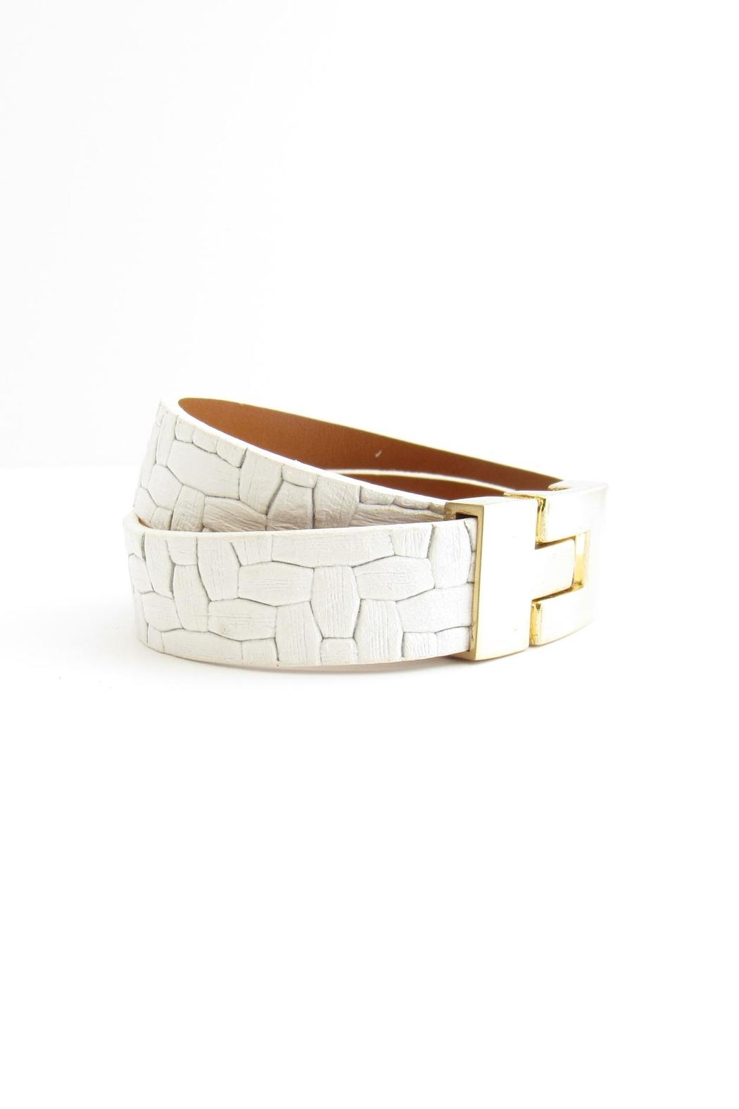 Leighelena White Leather Bracelet - Front Full Image