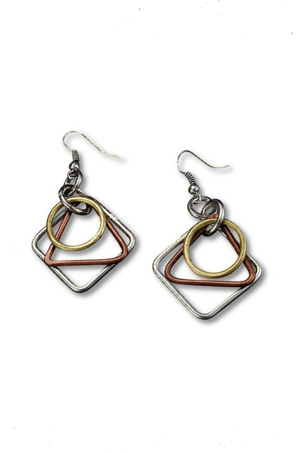 Anju Handcrafted Artisan Jewelry Lela Three-Tone Earrings - Main Image