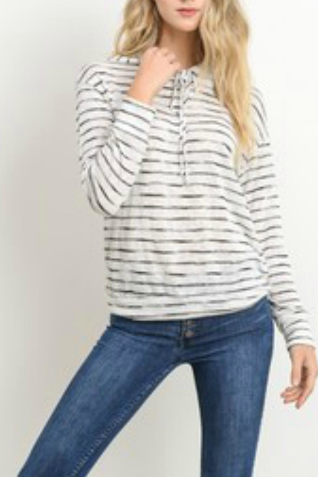 lelis Striped Lightweight Hoodie - Front Cropped Image