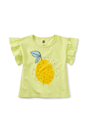 Tea Collection  Lemon Fresh Flutter Sleeve Tee - Front cropped