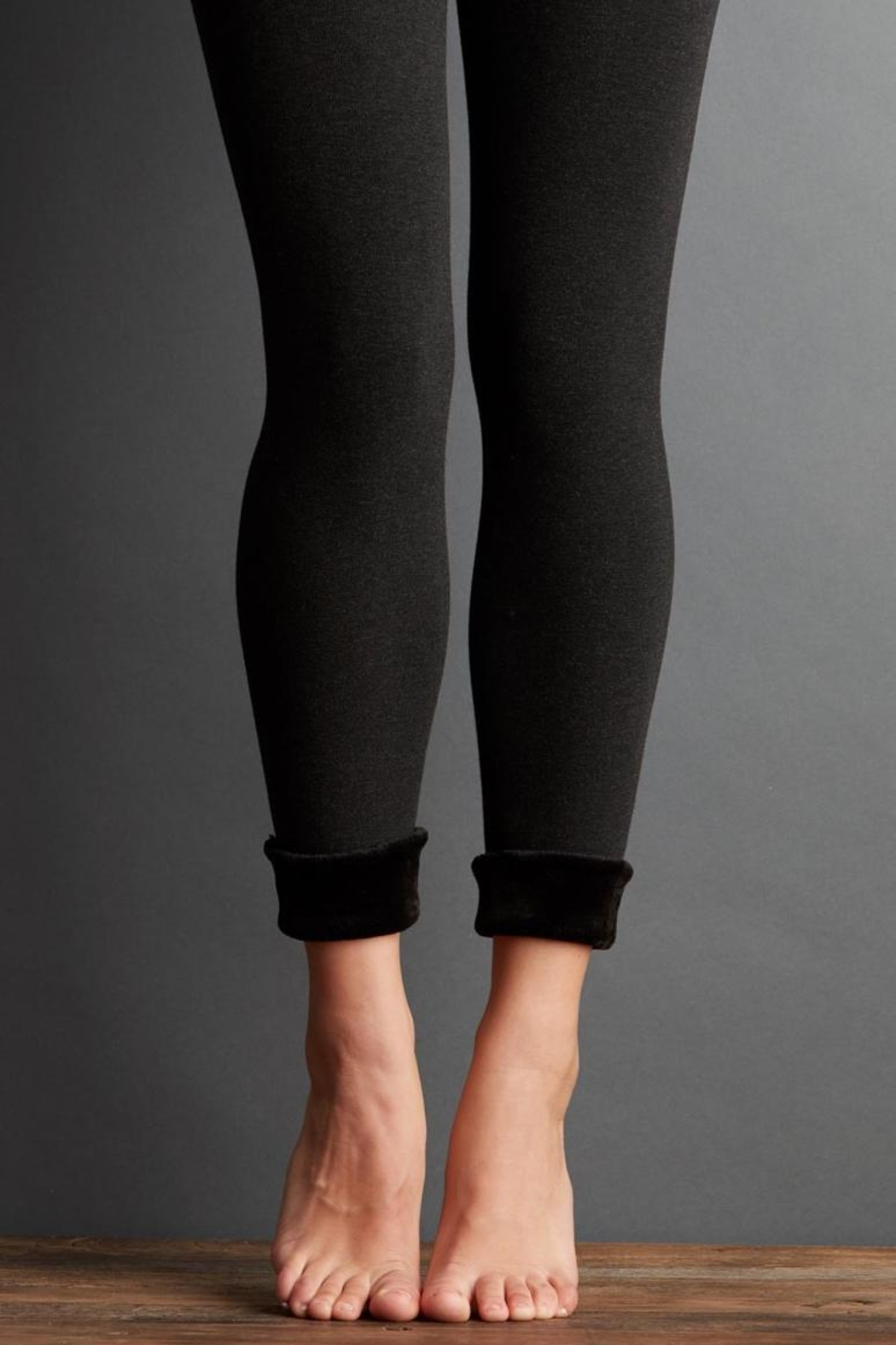 lemon Fur Cuff Legging - Front Cropped Image