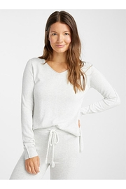 lemon Heather Grey Sweater - Front cropped