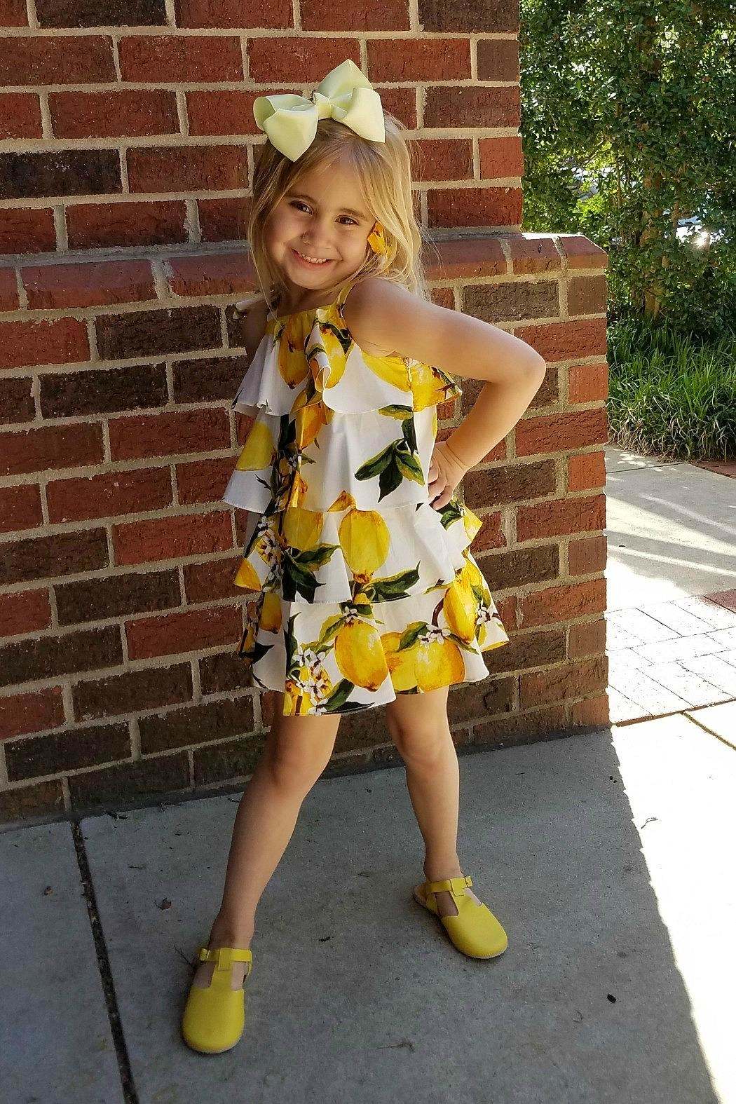 Doe a Dear Lemon-Print Cascading-Layered Sundress - Main Image