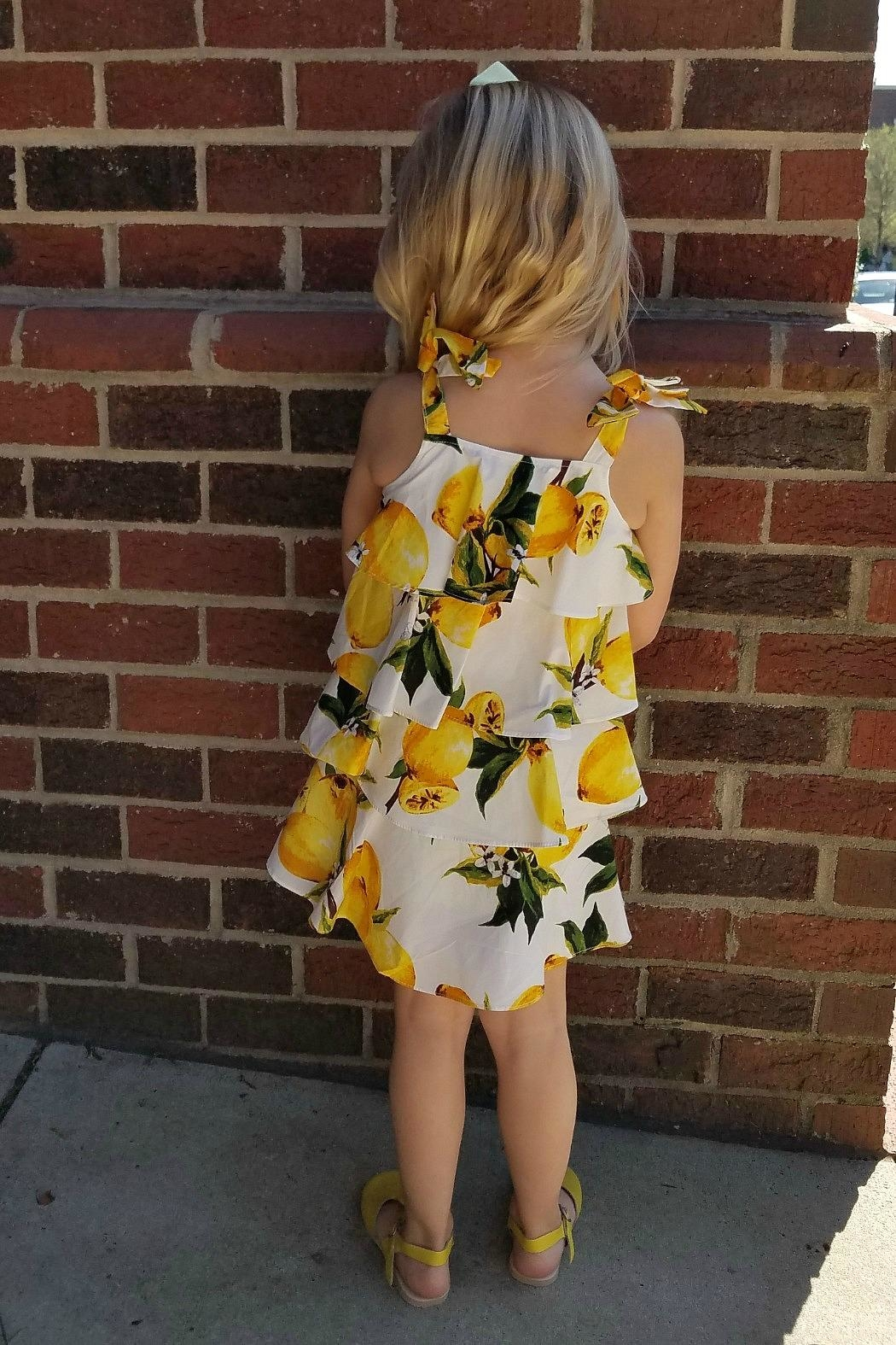Doe a Dear Lemon-Print Cascading-Layered Sundress - Front Full Image