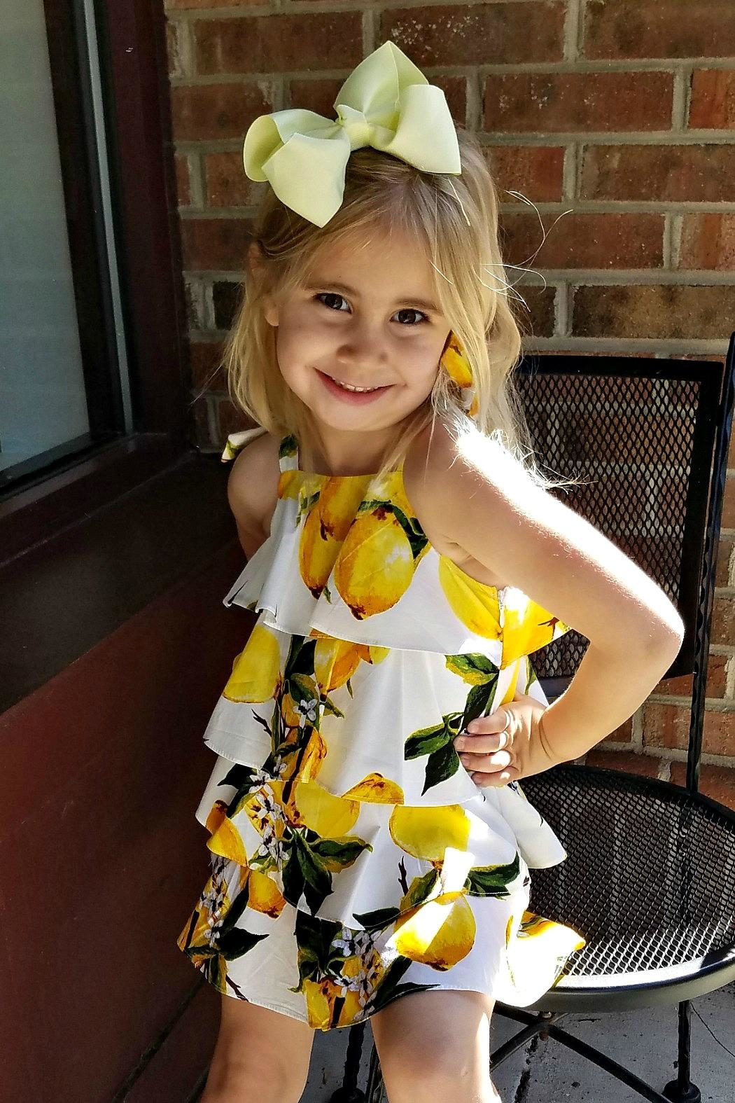 Doe a Dear Lemon-Print Cascading-Layered Sundress - Side Cropped Image