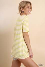 Umgee USA Lemon-Stripes Knot Tee - Front full body