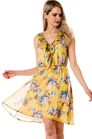 Love Tree Lemon-Yellow Floral Dress - Front cropped