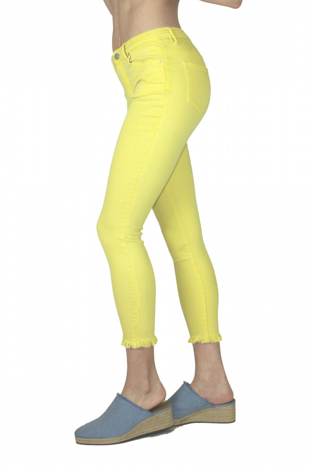 Tractr (New York Poplin) Lemon Zest Jeans - Front Full Image