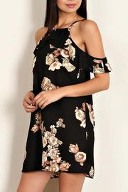 Lemon Tree Cold Shoulder Floral Dress - Front full body