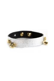 Lenny & Eva Gunmetal Leather Cuff - Front cropped