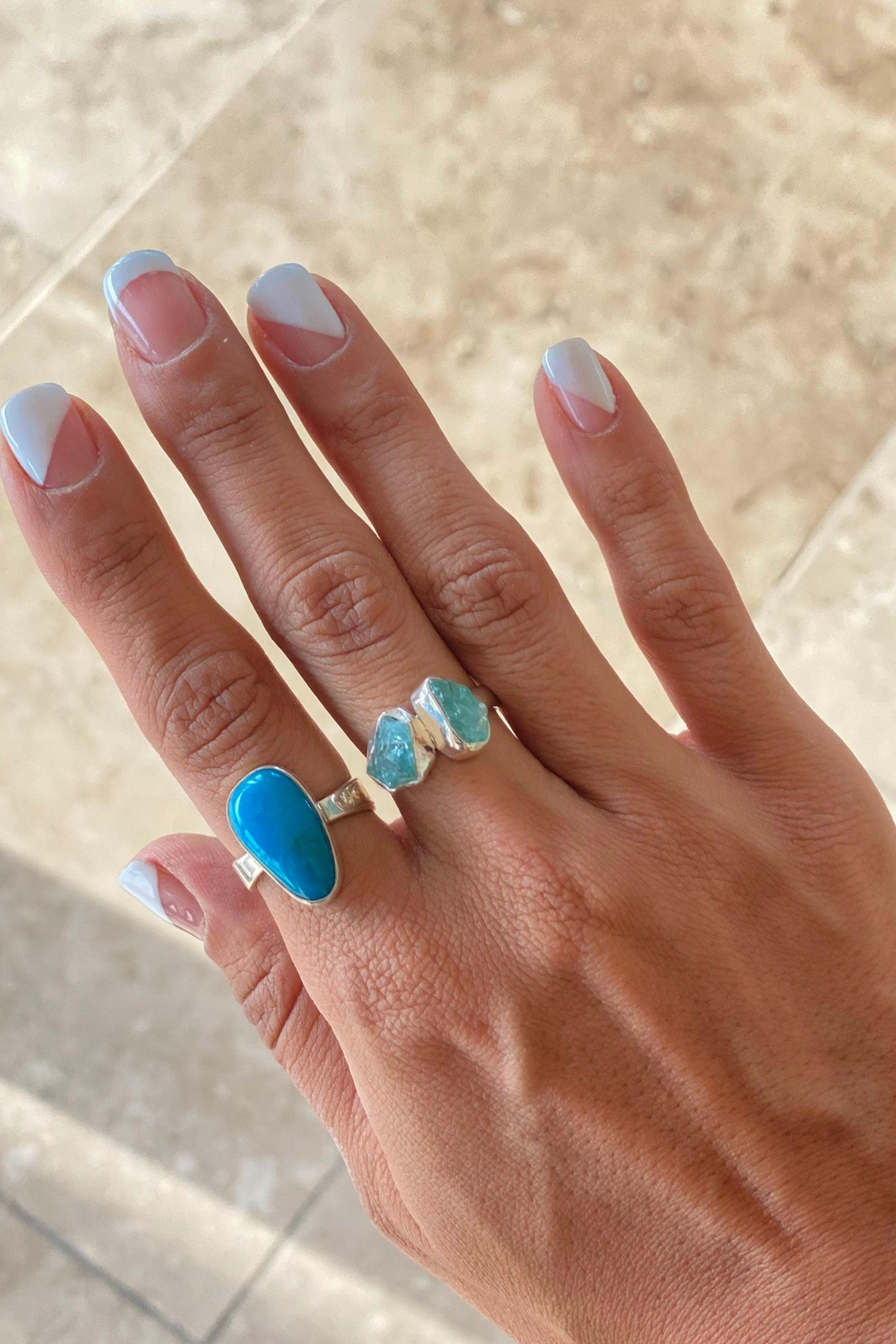 Lenore Jewelry Blue Agate Ring - Front Full Image