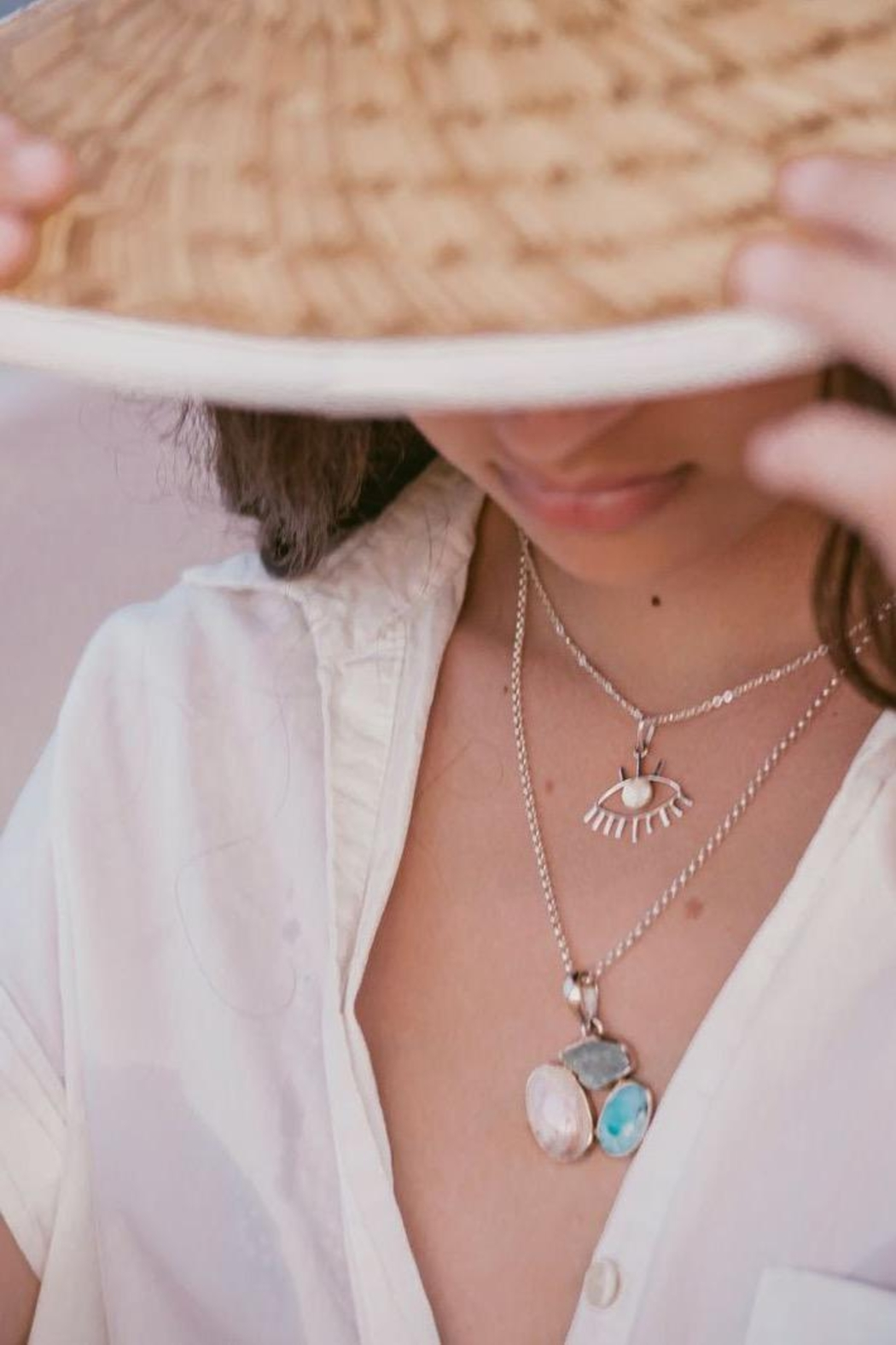 Lenore Jewelry Evil Eye And Mother Of Pearl Necklace - Side Cropped Image
