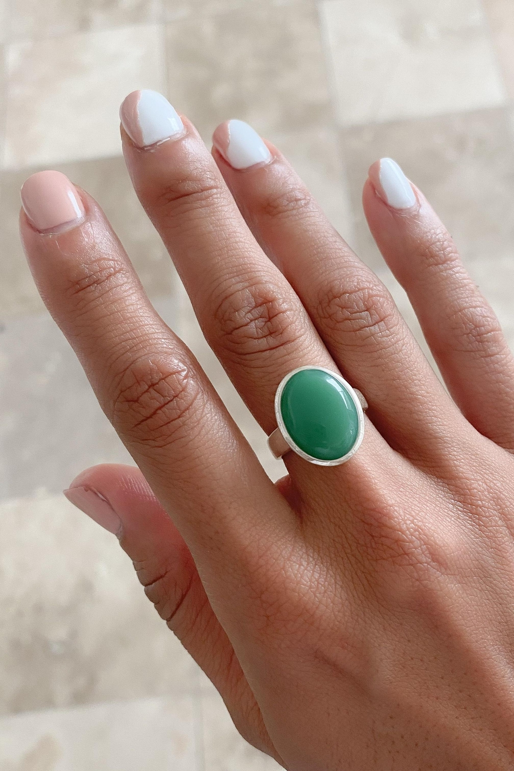 Lenore Jewelry Green Jade Ring - Front Full Image