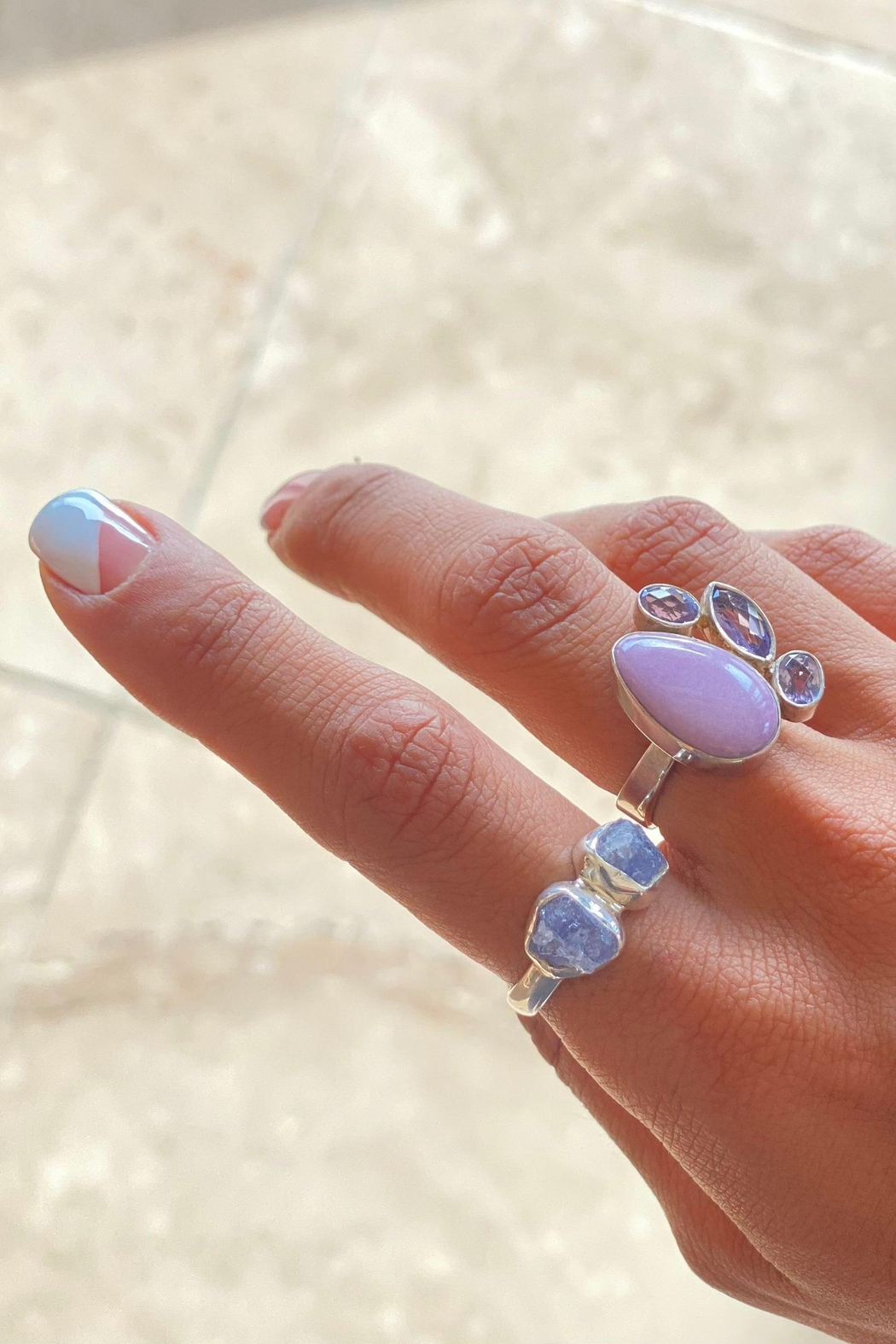 Lenore Jewelry Lilac Jasper / Amethysts Ring - Side Cropped Image