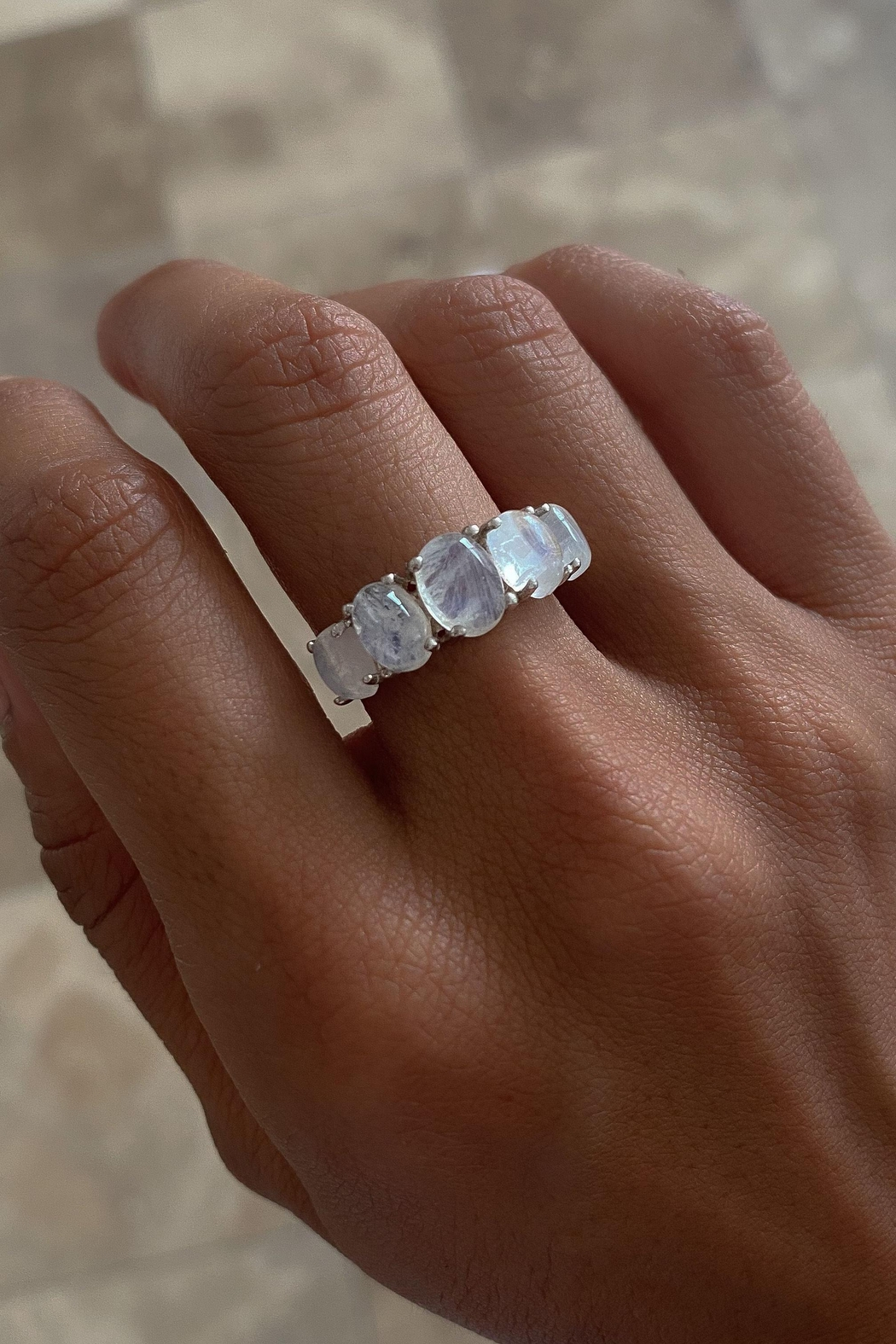 Lenore Jewelry Moonstones Ring - Front Full Image