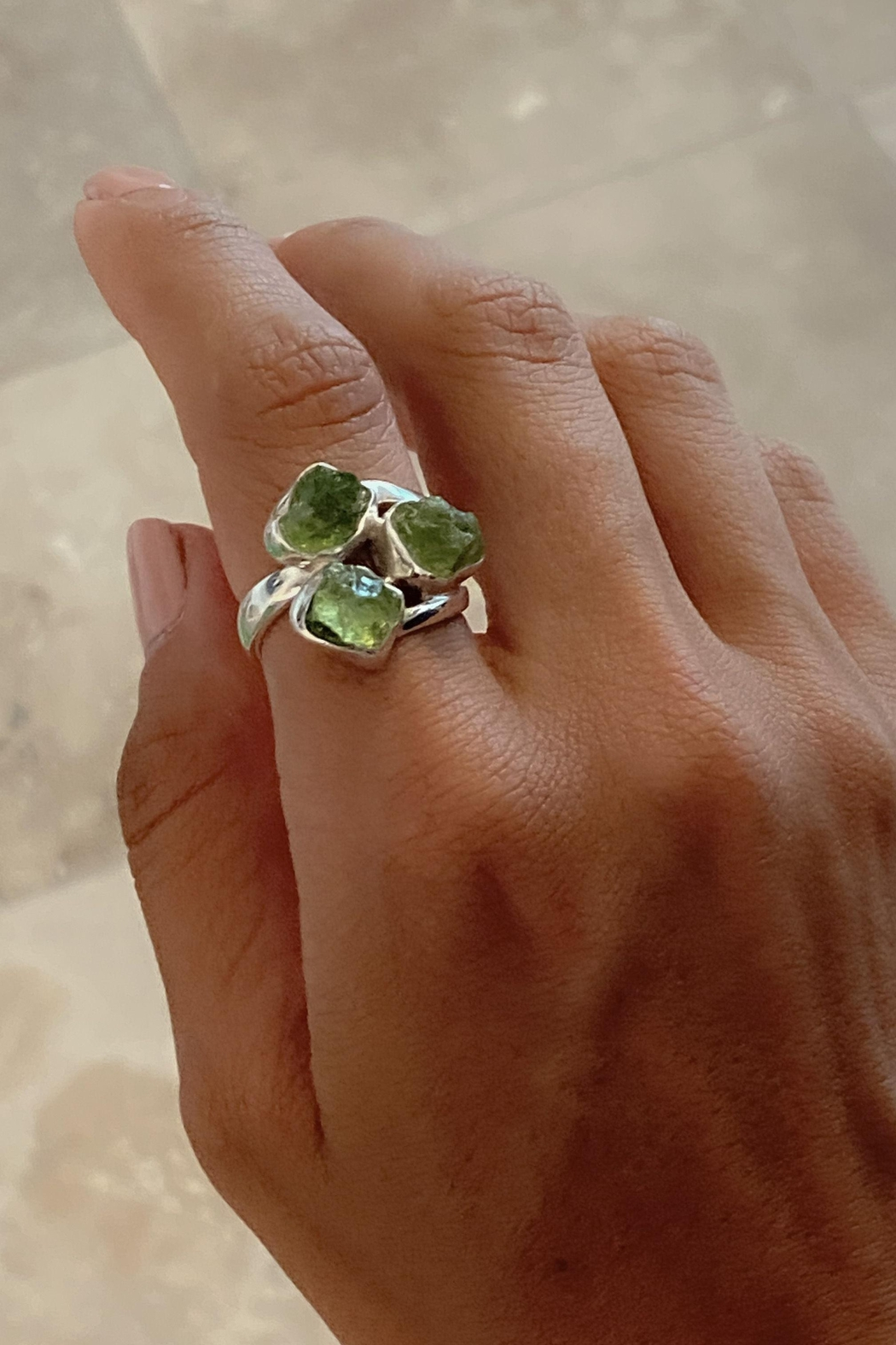 Lenore Jewelry Raw Peridots Ring - Front Full Image