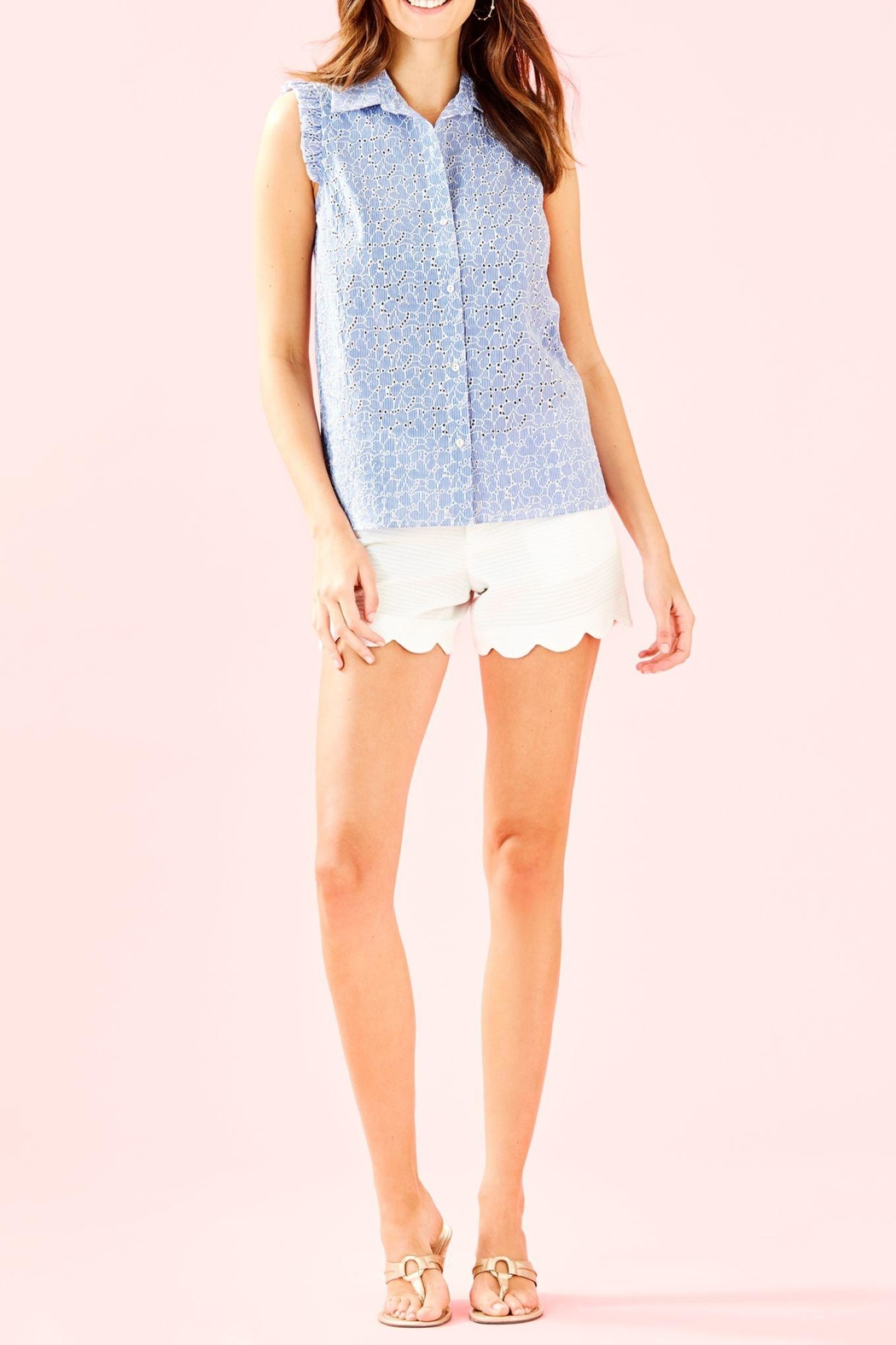 Lilly Pulitzer Lenox Button-Front Top - Side Cropped Image
