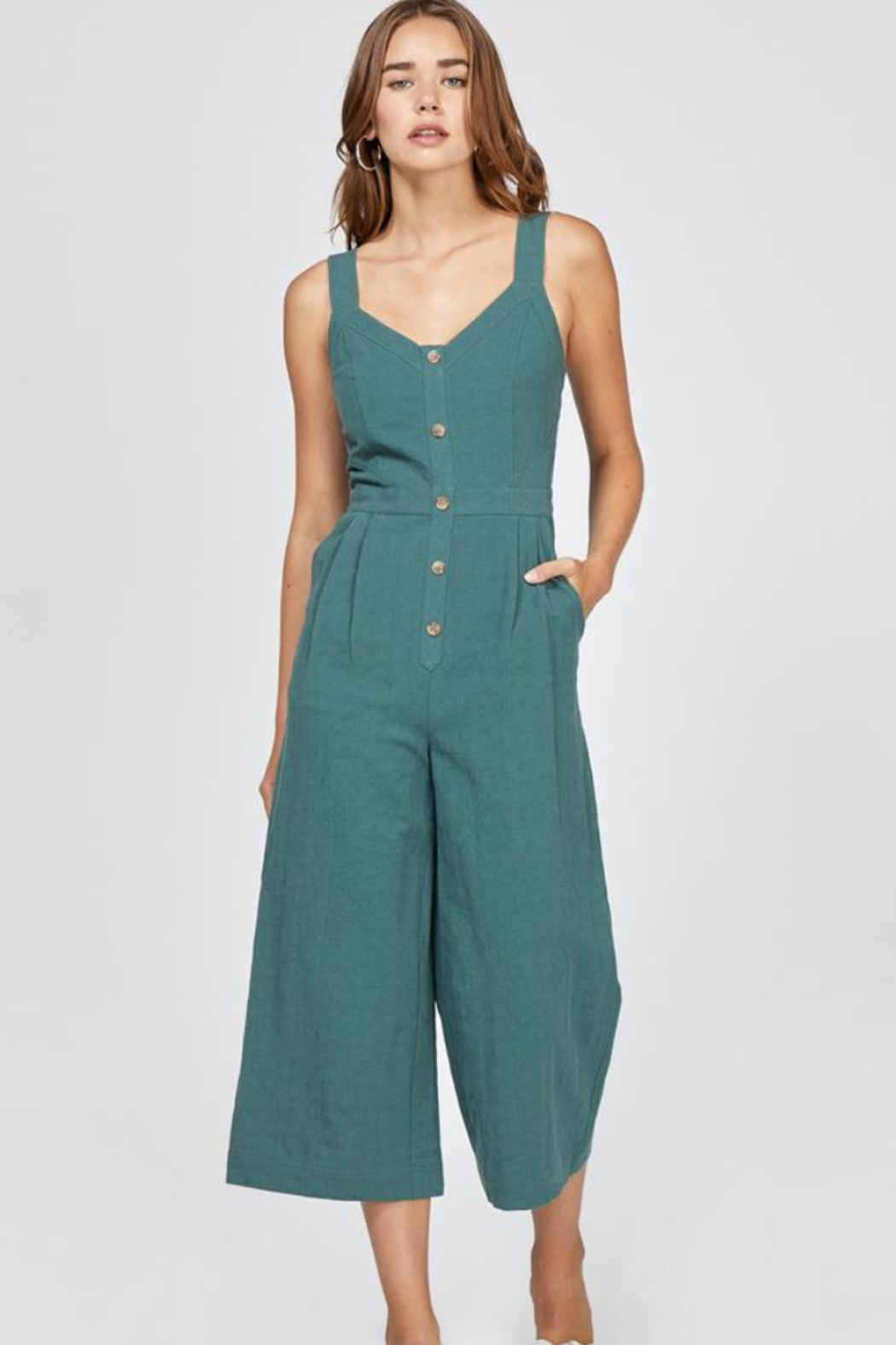 Greylin Lenox Button-Up Culotte Jumpsuit - Main Image