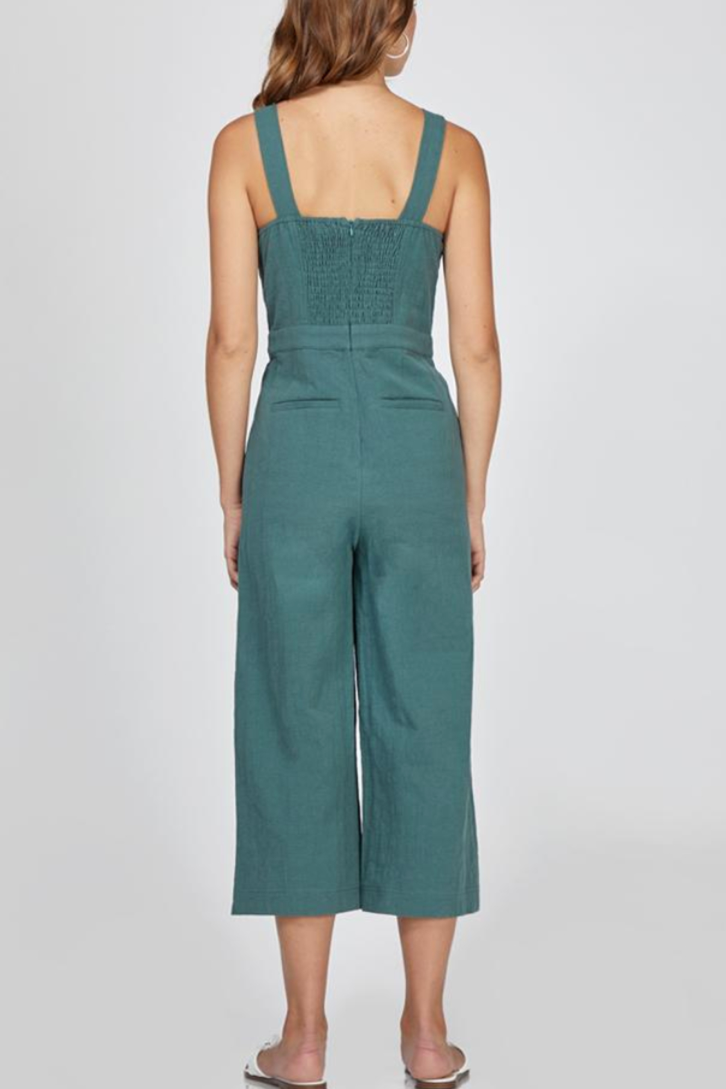 Greylin Lenox Button-Up Culotte Jumpsuit - Front Full Image