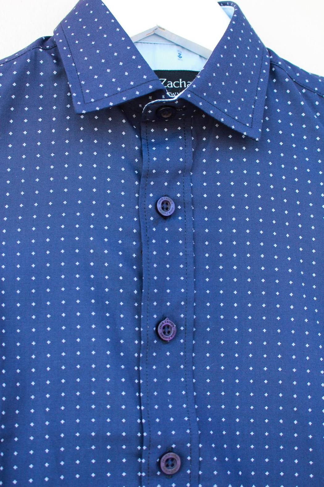 Leo & Zachary Navy Button Down - Side Cropped Image