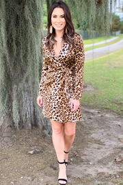 Peach Love California Leona Leopard Wrap Dress - Product Mini Image