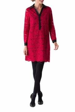 Shoptiques Product: Red Lace Tunic Dress