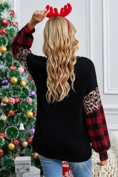Shewin Leopard and Plaid Balloon Sleeve Top - Alternate List Image