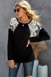 Shewin  Leopard And Snakeskin Print Long Sleeve Top - Product Mini Image