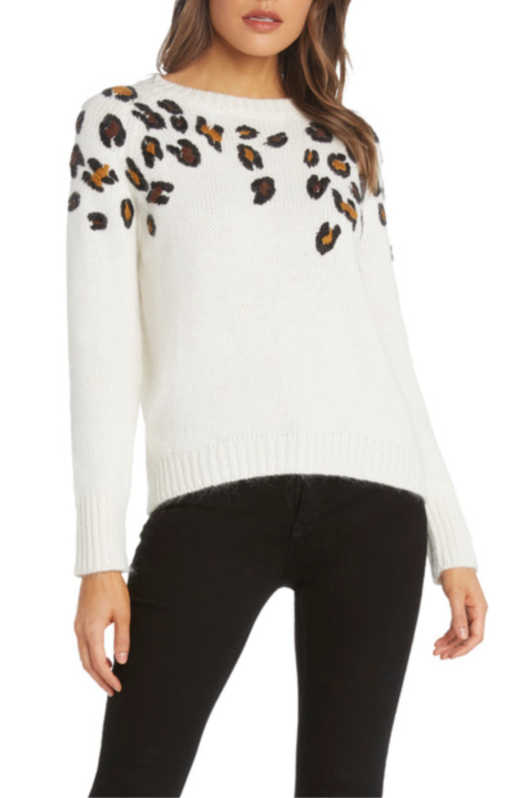 Willow & Clay Leopard Applique Sweater - Main Image