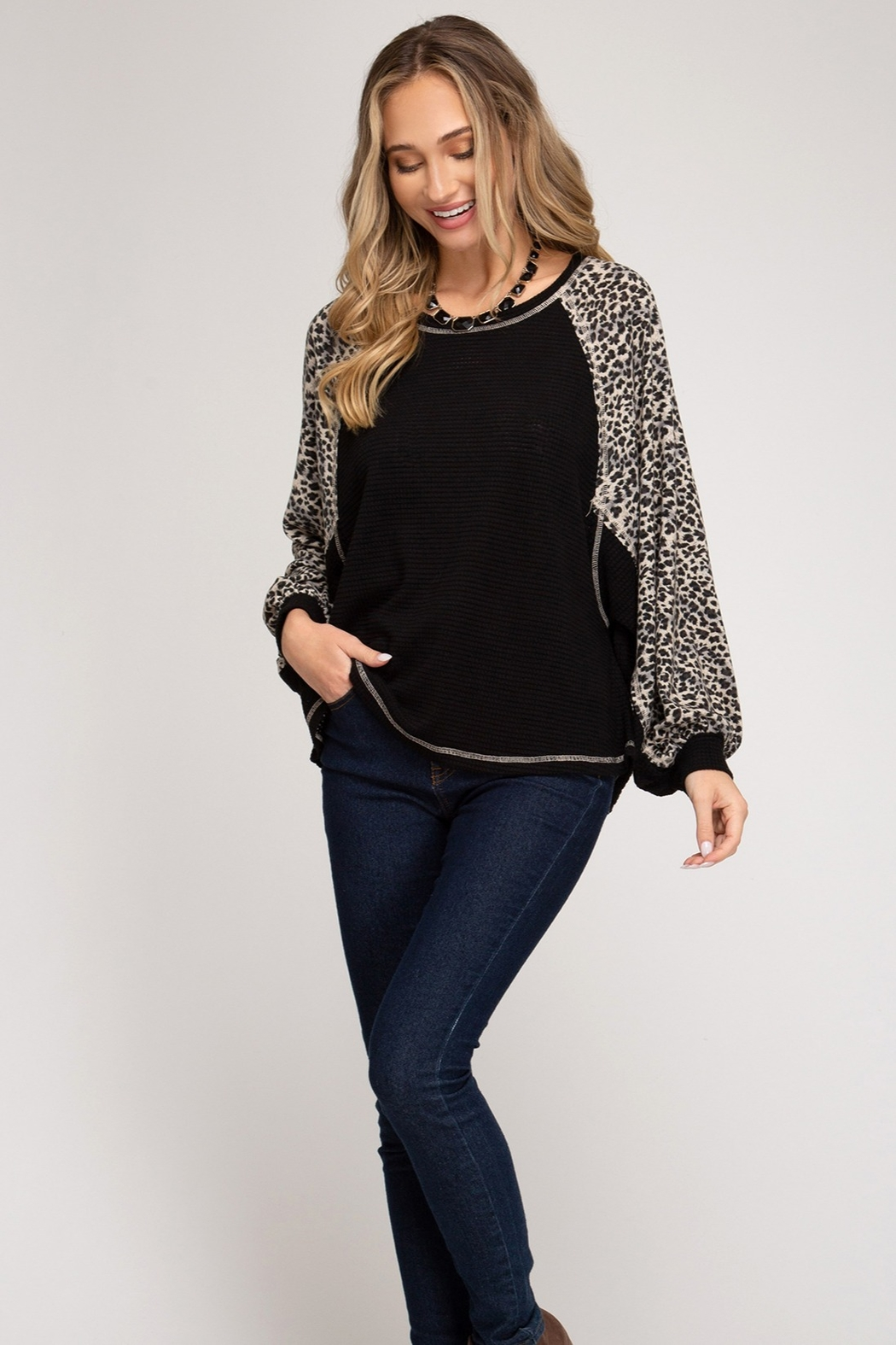 She & Sky  Leopard Arm Shirt - Front Full Image