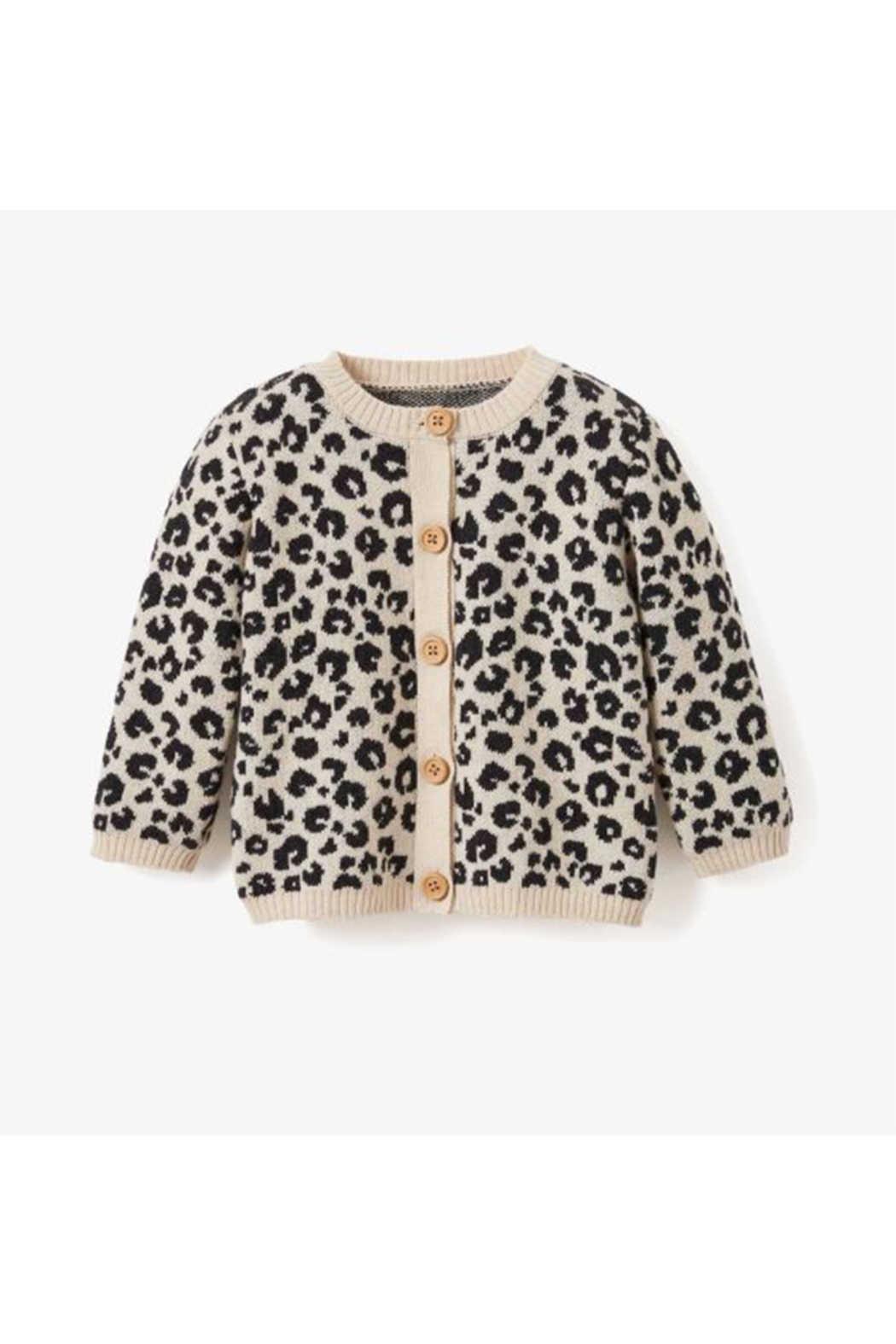 Elegant Baby Leopard Baby Cardigan - Front Cropped Image