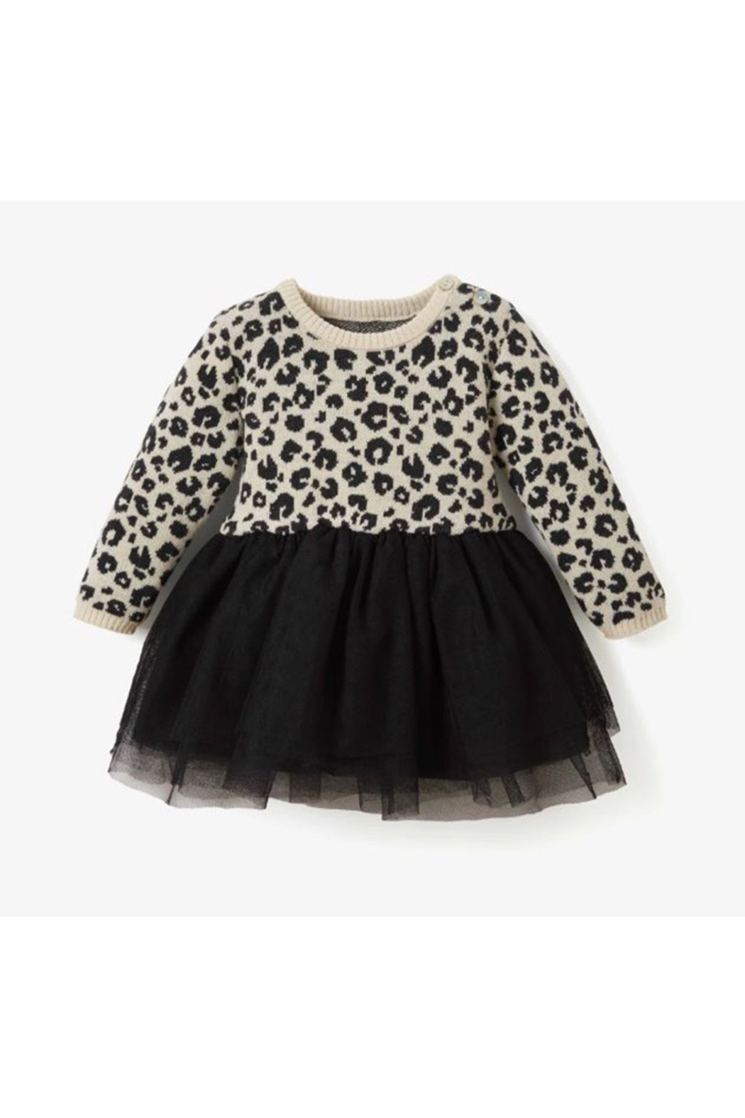 Elegant Baby Leopard Baby Dress - Front Cropped Image