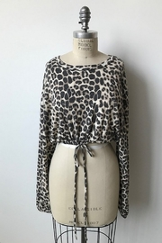 Audrey 3+1 Leopard Bell Sleeve Top - Front cropped