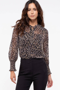 By the River Leopard-Black Sheer Leopard Top - Product List Image