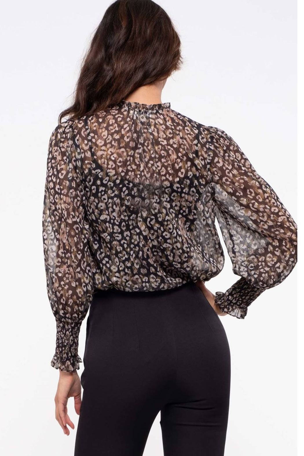 By the River Leopard-Black Sheer Leopard Top - Front Full Image