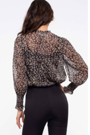 By the River Leopard-Black Sheer Leopard Top - Front full body