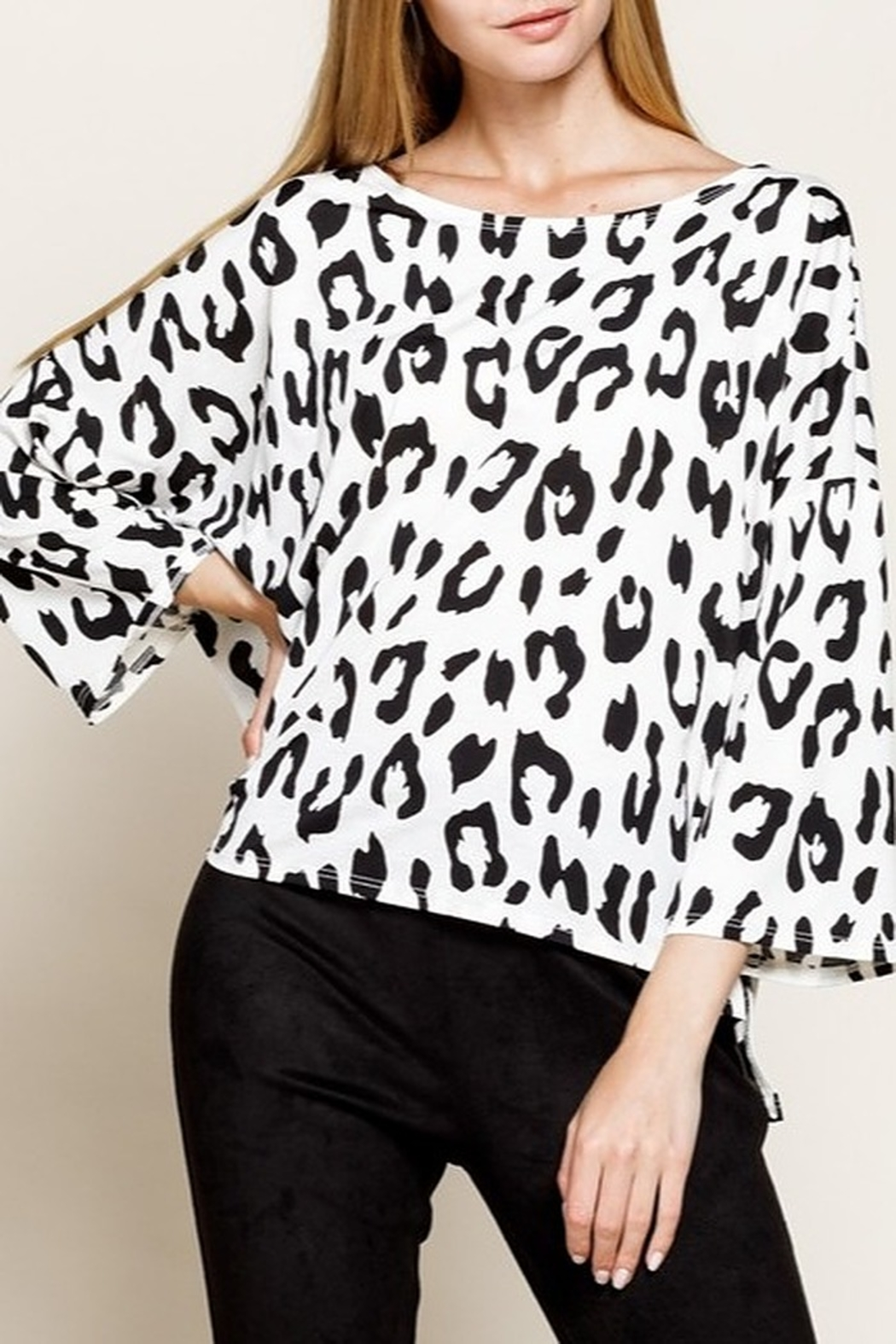 Mittoshop LEOPARD BOAT NECK 3/4 SLEEVES KNIT TOP - Main Image