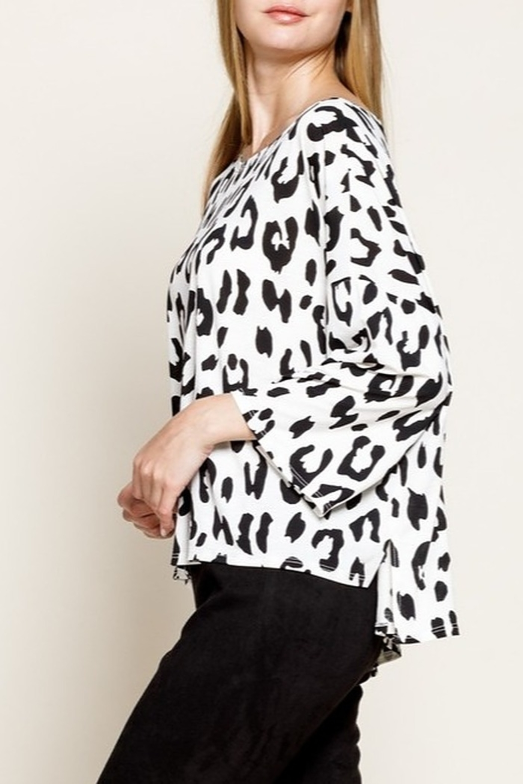 Mittoshop LEOPARD BOAT NECK 3/4 SLEEVES KNIT TOP - Front Full Image