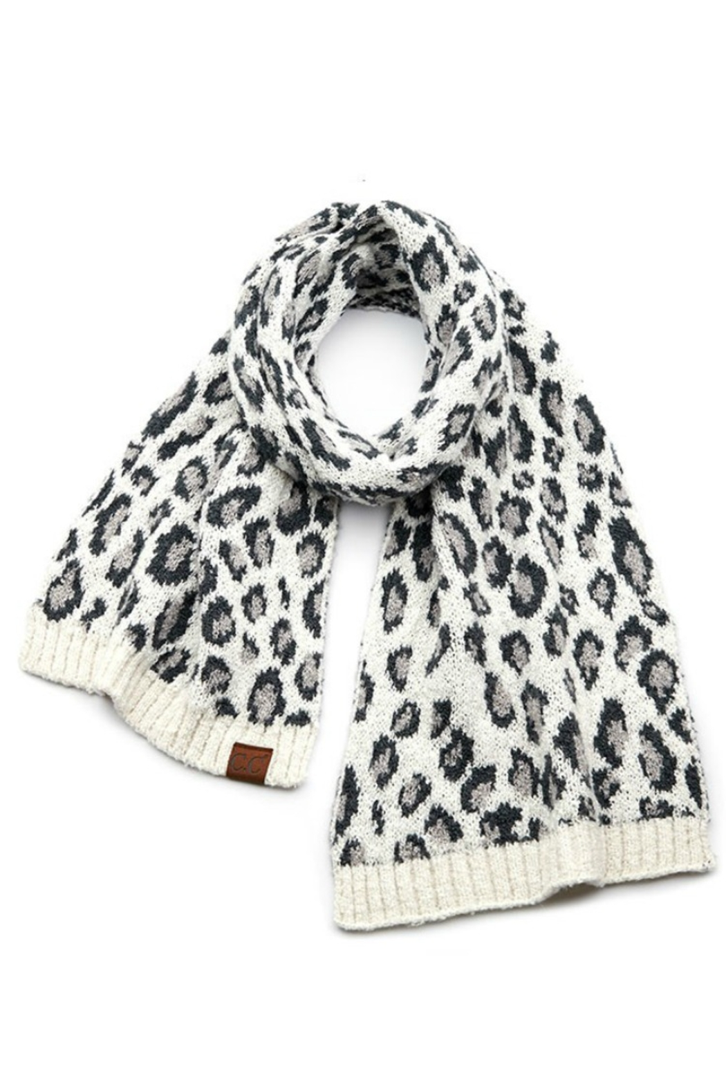 Susan Ankerson Leopard Boucle Scarf - Front Cropped Image