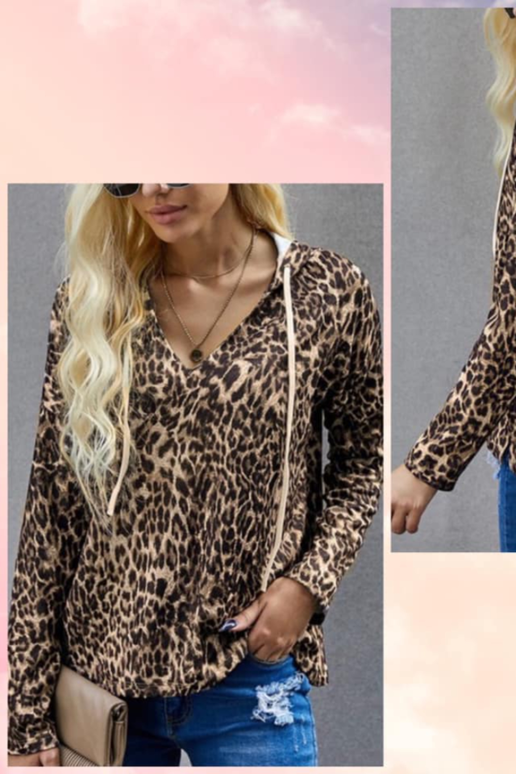 Shewin Leopard Boxy Hoodie - Front Cropped Image