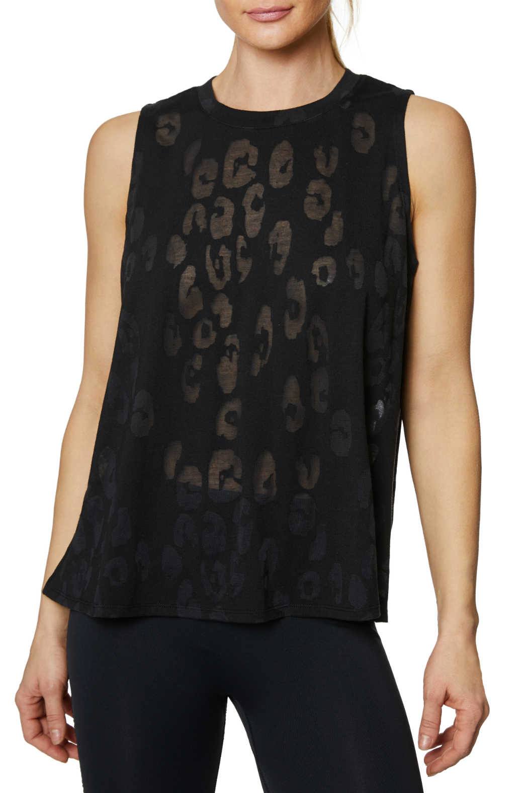 Betsey Johnson Leopard Burnout Muscle Swing Tank - Front Cropped Image
