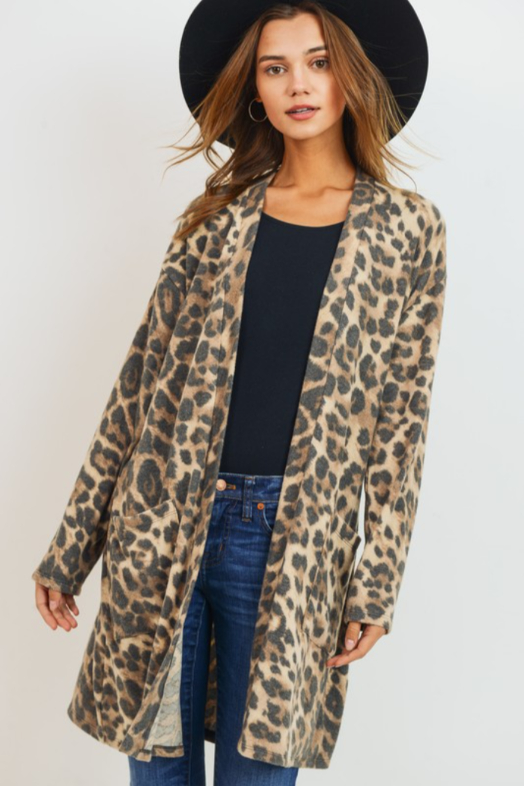 Cherish Leopard Cardigan - Front Cropped Image